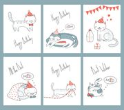 Set of birthday cards with cats. Set of hand drawn ready to use birthday cards templates with cute funny cartoon cats in party hats, typography. Vector royalty free illustration
