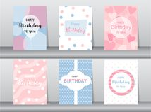 Set of birthday cards on cute design background,invitation,poster,greeting,template,balloon,Vector illustrations. Set of birthday cards on cute design background royalty free illustration