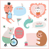 Set of birthday cards, gift tags, labels stock illustration