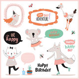 Set of birthday cards, gift tags, labels Royalty Free Stock Image