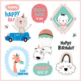 Set of birthday cards, gift tags, labels royalty free illustration