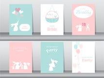 Set of birthday cards. Poster stock illustration