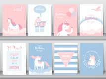 Set of birthday cards,poster,invitations, cards,template,greeting cards,animals,unicorn,fantasy,magic,cloud,Vector illustrations. Set of birthday cards,poster royalty free illustration