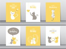 Set of birthday cards,poster,invitation cards. Set of birthday cards,poster vector illustration