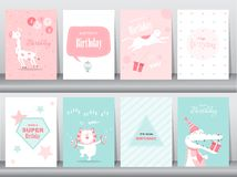 Set of birthday cards,poster,invitation cards,template,greeting cards,animals,cute,Vector illustrations. Set of birthday cards,poster,invitation cards royalty free illustration