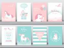 Set of birthday cards, poster, invitations, cards, template, greeting cards, animals, unicorn, fantasy, magic, cloud, Vector illus. Set of birthday cards, poster royalty free illustration