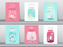 Set of birthday cards,poster,invitations, cards,template,greeting cards,animals,fantasy,magica ,Cute funny cartoon unicorn in a gl. Ass jar, Magical,Isolated Royalty Free Stock Image