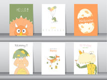 Set of birthday cards. Poster,template,greeting cards,animals,dinosaurs,eggs stock illustration