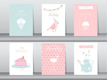 Set of birthday cards. Poster,template,greeting cards,cake,bird stock illustration