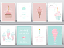 Set of birthday cards,poster,template,greeting cards,cake,ice cream,Vector illustrations. Set of birthday cards,poster,template,greeting cards,cake,ice cream royalty free illustration