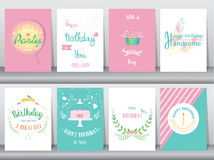Set of birthday cards,poster,template,greeting cards,sweet,balloons,cake,feather,Vector illustrations. Set of birthday cards,poster,template,greeting cards,sweet vector illustration