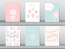 Set of birthday cards Royalty Free Stock Photography