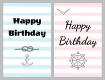 Set of birthday cards in sea style royalty free illustration