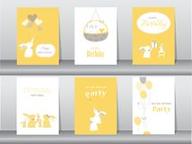 Set of birthday cards. Poster,invitation cards,template,greeting cards,animals,rabbit stock illustration