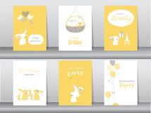 Set of birthday cards stock illustration
