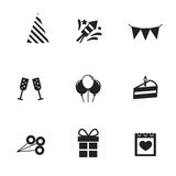 Set birthday, celebration or party icons. Vector. Set birthday, celebration or party black icons. Vector illustration Royalty Free Stock Photo