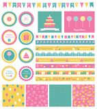 Set of birthday design elements. Stock Image