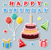 Set of birthday elements stock illustration