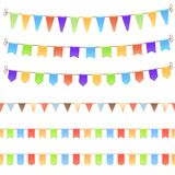 Set of birthday flags Royalty Free Stock Images