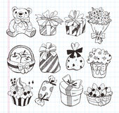 Set of birthday gift icons Royalty Free Stock Image