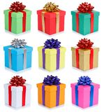 Set of birthday gifts christmas presents portrait format boxes isolated on white background