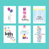 Set of birthday greeting card templates Stock Photo