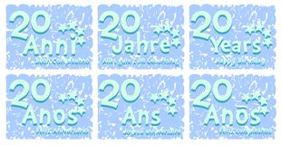 Set of birthday greeting card for 20 years. A set of birthday greeting card for 20 years, in different languages. An idea that can be used also on gadgets stock illustration