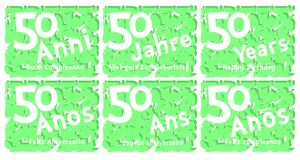 Set of birthday greeting card for 50 years. A set of birthday greeting card for fifty years, in different languages. An idea that can be used also on gadgets vector illustration