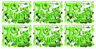 Set of birthday greeting card for 70 years. A set of birthday greeting card for seventy years, in different languages. An idea that can be used also on gadgets stock illustration