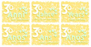 Set of birthday greeting card for 30 years Stock Image