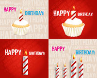 Set of Birthday Greeting cards. With candle Royalty Free Stock Image