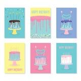 Set of birthday greeting cards with cakes. Set of birthday greeting cards with decorated cakes. Vector illustration royalty free illustration
