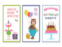 Set of birthday greeting cards with cute animals Royalty Free Stock Images