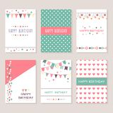 Set of birthday greeting cards design. Bounting flags, stars and circles and other decorative elements. Celebration Stock Photography