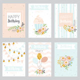 Set of birthday greeting cards design. With a cake, balloons and flowers in pastel colors stock illustration