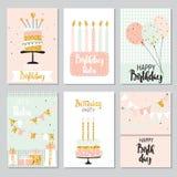Set of birthday greeting cards design Stock Photo