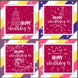 Set of birthday greeting cards design. In the style of doodle. Vector illustration royalty free illustration