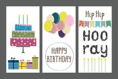 Set of birthday greeting cards design or template. Stock vector illustration royalty free illustration