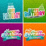 Set of birthday greeting cards. Eps10 Vector.  stock illustration