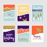 Set of birthday greeting cards with gold glitter design. Vector Stock Photos