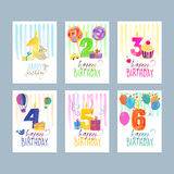 Set of birthday greeting cards Stock Photography