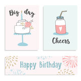 Set of birthday greeting cards, invitations with cake and mason jar cocktail. Hand drawn vector illustrations in pastel Stock Images
