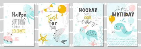 Set of Birthday greeting cards and party invitation templates with cute crab, octopus, fish, turtle and whale. Vector illustration.  stock illustration