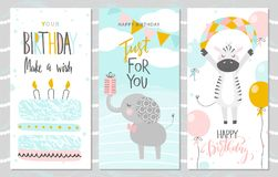 Set of Birthday greeting cards and party invitation templates with cute elephant, Zebra and cake. Vector illustration vector illustration