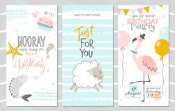 Set of birthday greeting cards and party invitation templates with cute fish, crab, lamb and pink flamingos. Vector. Illustration stock illustration