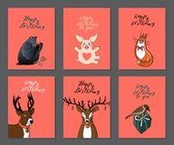 Set of birthday greeting cards on pink background with cute animals.  red cat, pigeon, deer, pig and sparrow. Hand lettering happy birthday. stock vector vector illustration