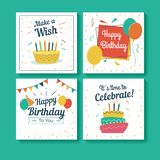 Set of Birthday Greeting Cards. Birthday greeting cards with balloons and confetti stock illustration