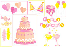 Set of birthday icons Stock Photos