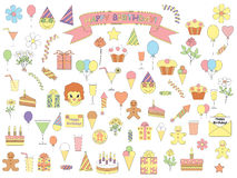 Set of birthday icons Royalty Free Stock Photo