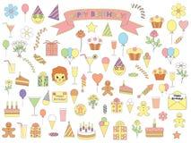 Set of birthday icons Royalty Free Stock Photo